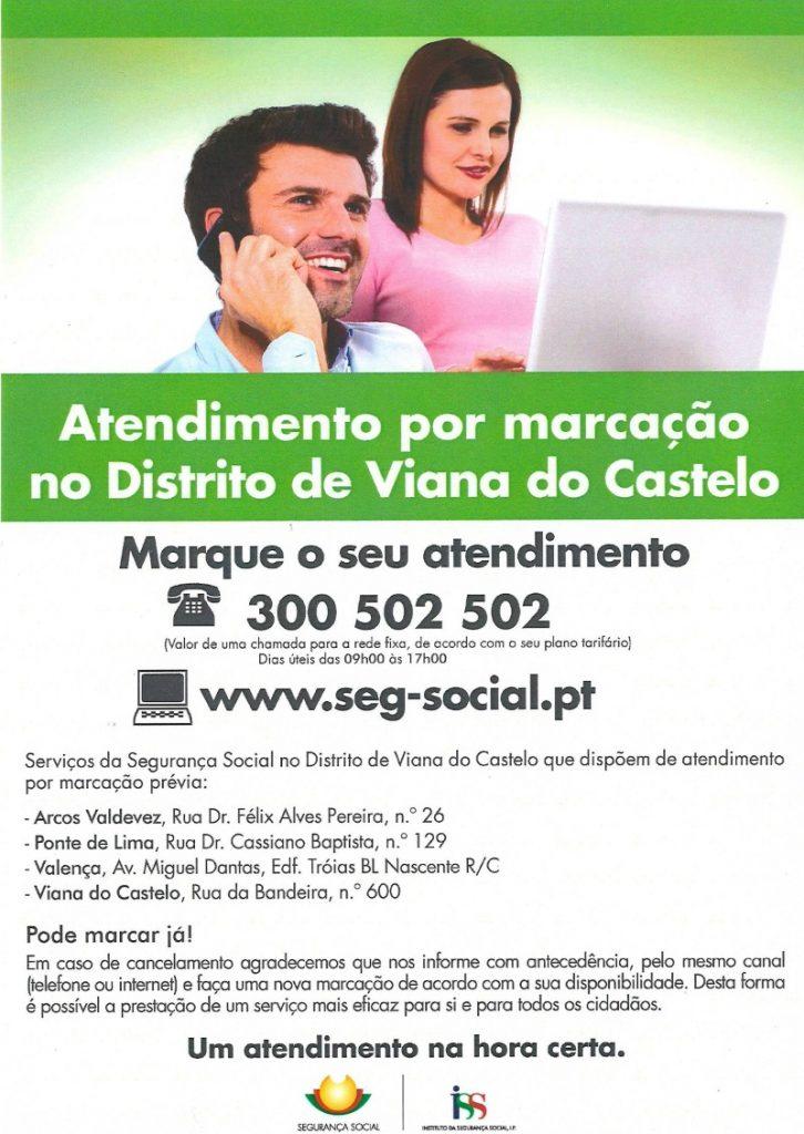 atendimento por marcaçao distrito Viana Castelo - Seg. Social